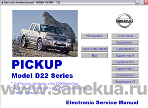 Руководство по ремонту и эксплуатации на Nissan Pickup Model D22 series.